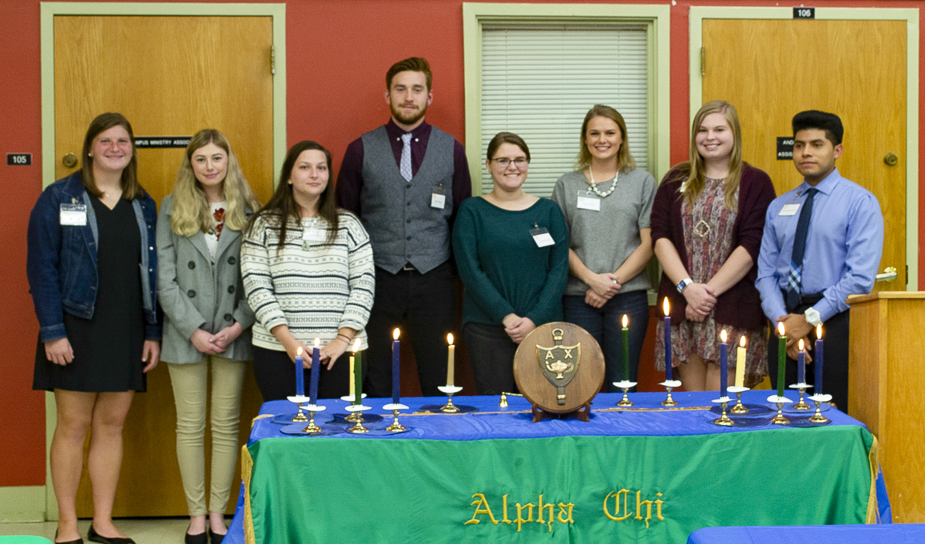 Fall 2019 inductees into Mars Hill University's chapter of Alpha Chi National College Honor Society are, from left, Ashley Collins, Kaylee McMurray, Allison Tomlin, Devin Thorpe, Annastasia Shell, Jessica Minton, Alyssa Jenkins and Roman Rojas Becerril. Not pictured are Matthew Kowalczyk, Jared Mathewson and Austin Treadway. (Submitted)