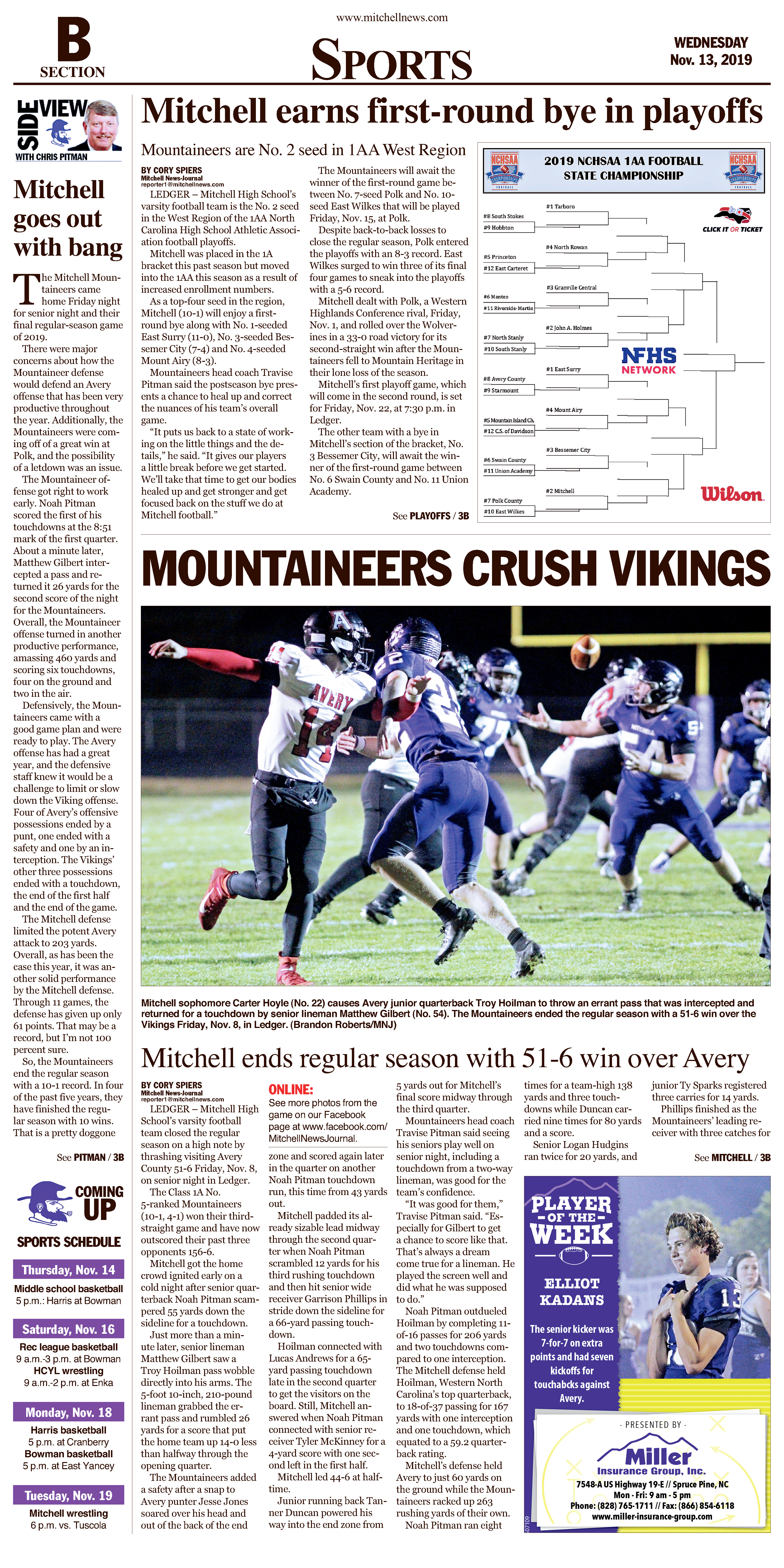 Sports page for Wednesday, Nov. 13.