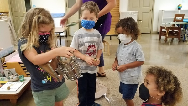 While kids are not required to wear masks at the daily summer camps, Head of Spruce Pine Montessori School Vick Austin said the kids, ages three to six-years-old, have grasped the concept very well. Pictured. Left to Right: Rowan, River, Jake and Nathan. (Photo submitted by SPMS)