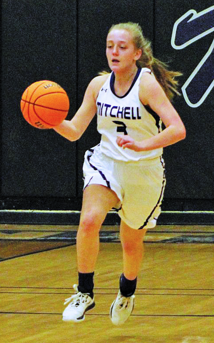 Mitchell's Jill Pittman dribbles down the floor and looks to make a play during a game in the 2019 season. Pittman will play at Brenau College after graduation, she announced. (MNJ file photo)