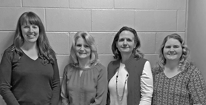 Members of the Mayland Community College S.O.A.R program team pose for a group photo. Pictured, from the left, is Dora Smith (counselor), Debbie Stafford (director), Maria Braswell (counselor) and Debra Cagle (administrative assistant). (Photo courtesy of MCC)