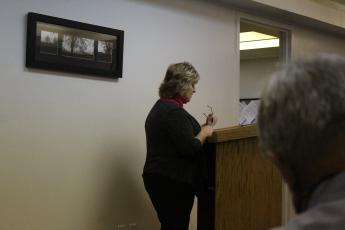 Sharon Gillespie of Young, Miller & Gillespie Public Accountants in Spruce Pine presented her findings to the board and said the county received an unmodified, or clean, audit. (Brandon Roberts/MNJ)