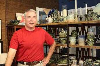 MNJ Photos/ Juliana Walker: Robbie Bell, owner of Speckled Dog Pottery, said he has sold a decent amount of his work online during the past three months.