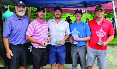 Billy Graham Evangelistic Association Executive Vice President Ken Karun with first flight tournament winners Lane Rosenfield, Neal Kepner, Alex Pittman and Nick Westmoreland. (Photo by Rocky Branch)