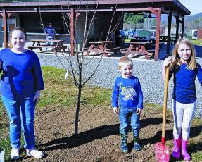 Cub Scouts from Spruce Pine Pack 505, along with help from Burnsville Pack 502, planted trees at Cane River Park in Yancey County this past month. Trees were donated by Jeff Harding. Pictured from left to right is Kaylee Morgan, Charlie D'Elia and Louise D'Elia. (Photo courtesy of Spruce Pine Pack 505)